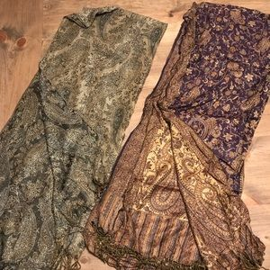 TWO paisley scarfs